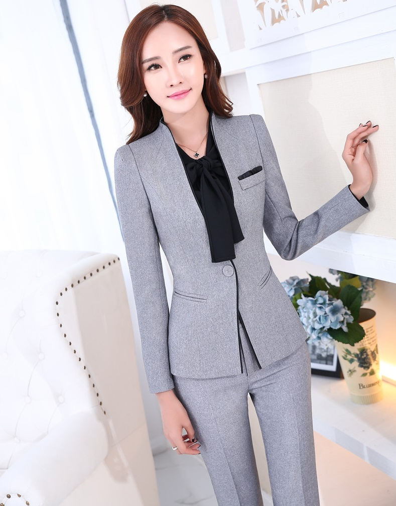 Formal Uniform Design Novelty Grey Professional Business Work Suits Jackets And Pants Ladies Pantsuits Female Trousers Set