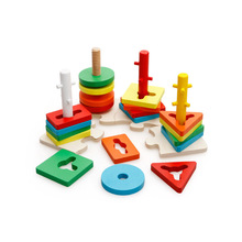 MWZ Colorful Recognition Geometric Board Block Stack Wooden Educational Preschool Shape Sort Chunky Toys, Christmas Gif