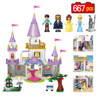667pcs Girl Friends Princess Building Block Bela And Beast Prince Romantic Castle Compatible Legoinglys Friends Toys