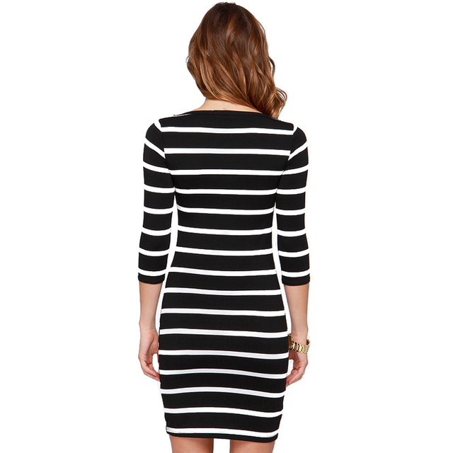 2016 New Spring Summer  Women Round Neck Fashion Black and White Striped Long Sleeve Straight Plus Size Casual Dress