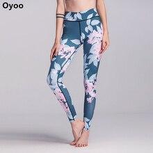 Oyoo Fou fan de floral imprimer fitness sport leggings-Minceur Mi Hauteur de Coupe Femmes de Yoga Leggings-Confortable foncé Bleu De Yoga Pantalon