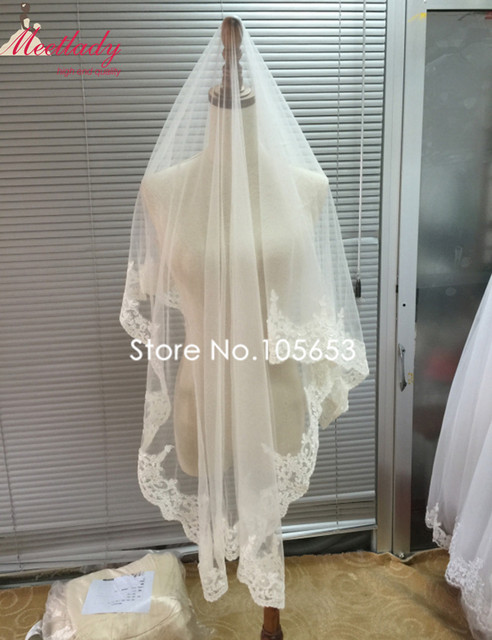 Hot Real Samples 1.5m Short Wedding Veil Lace Edge Applique Bridal Veil Customized Made Wedding Veil Wedding Accessories RC07