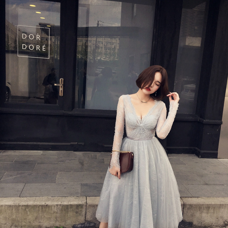 Long Sleeve Gray Party Dress Lace Spring Formal gowns Tea-Length Sexy Onepiece Deep V-Neck Embroidry Luxury Dresses 0105C