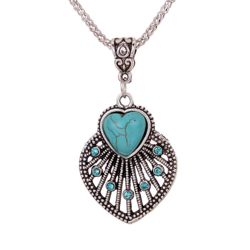Yazilind Jewellery Quà Giáng Sinh Cổ Điển Tim Hollow Out Tây Tạng Bạc Pha Lê Mặt Dây Chuyền Chuỗi Vòng Cổ cho Phụ Nữ
