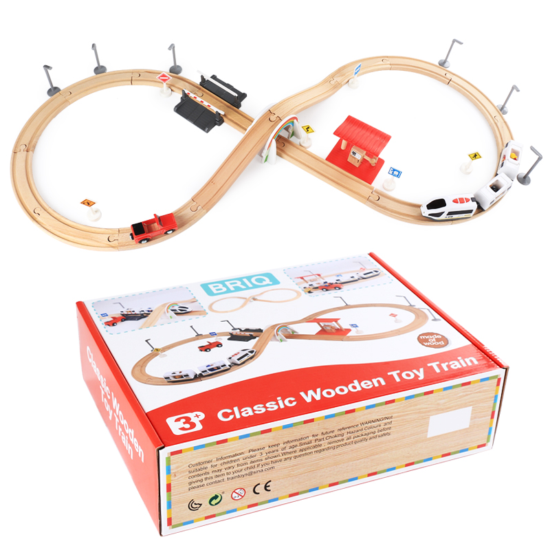 Children's electric wooden Thomas track white 3 electric car set electric magnetic train compatible Thomas track Brio track