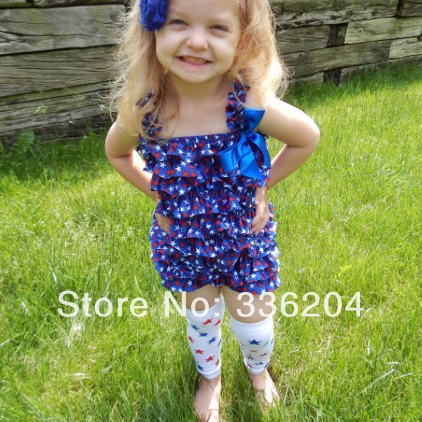 5b5de3ef61b6 Free Shipping Fourth of July Lace Petti Romper and Adorable Patriotic Blue  Star Lace Romper