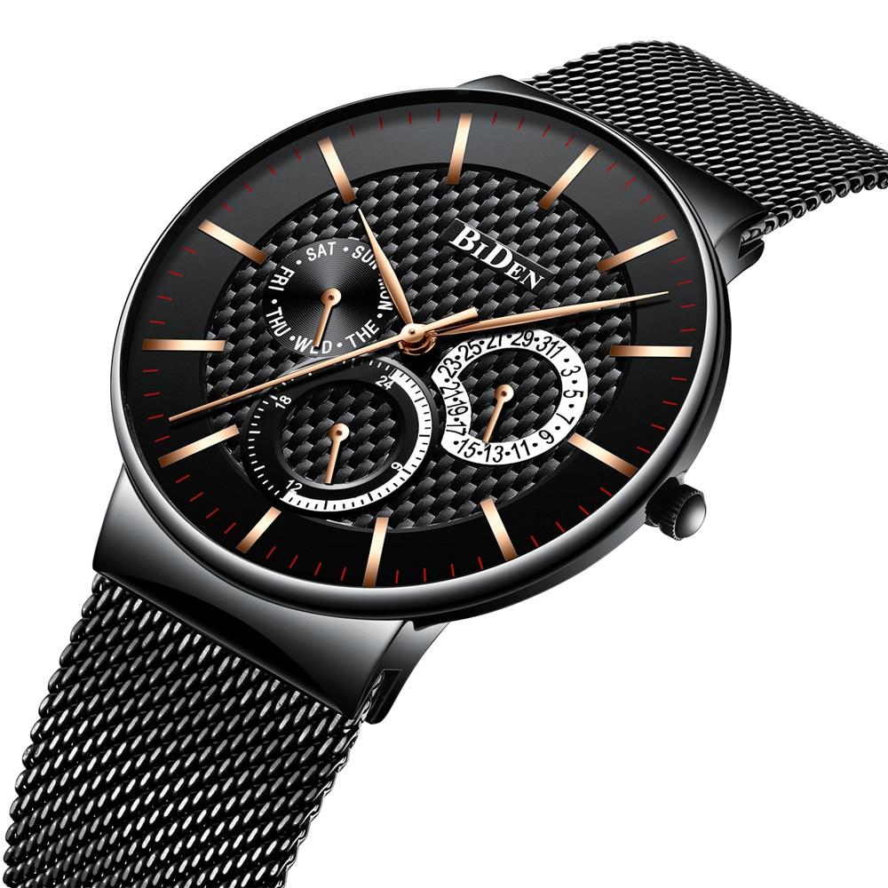 Ultra Thin Mens Wacthes Top Brand Luxury Black Quartz Watch Men Full Steel Slim Fashion Sport Wristwatches Man Male Clock Hour