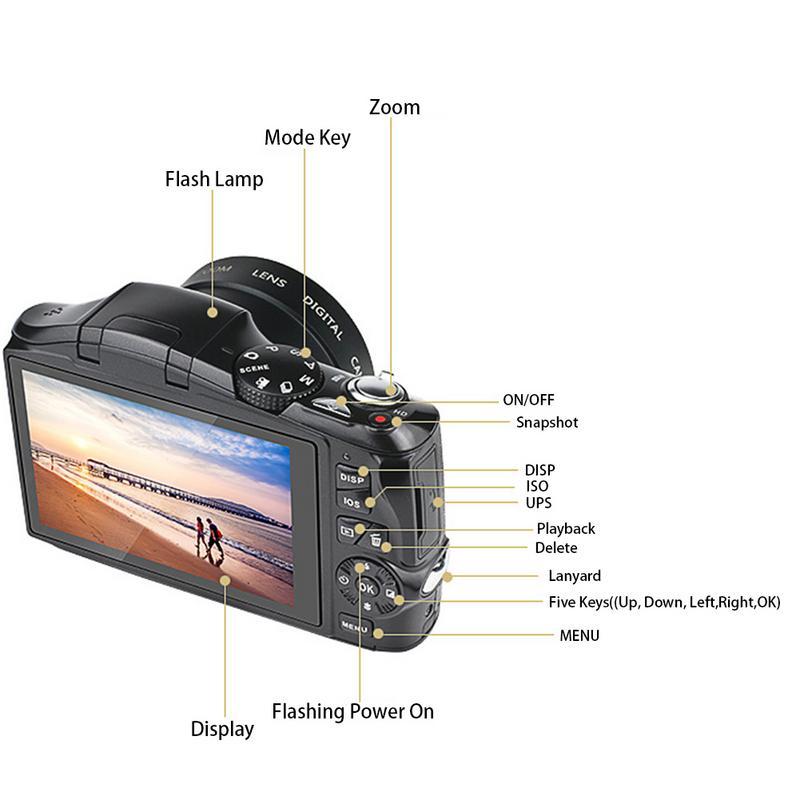 24 mégapixels téléobjectif HD photographie à domicile appareil photo numérique reflex CMOS capteur 20x Zoom JPEG/AVI 3.5