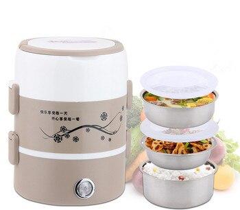 Olla Arrocera Inoxidable | Gran Capacidad 2L Acero Inoxidable Caja De Almuerzo Eléctrica Mini Cocina De Arroz Calentador De Alimentos Contenedor De Alimentos Automático