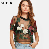 SHEIN Flower Embroidered Mesh Crop Top Womens Blouses Summer Ladies 2017 Short Sleeve Sexy Women S