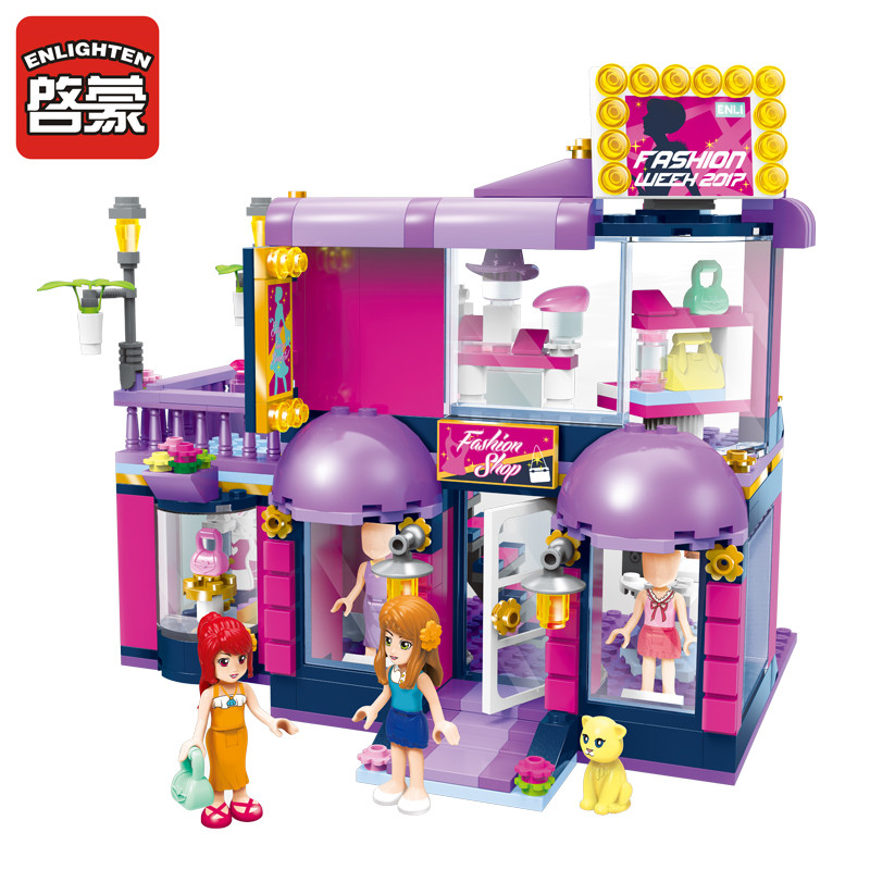 ENLIGHTEN 458Pcs City Girls Town Fashion Shop Building Blocks Model Kids Gift Princess Toys Friends Bricks