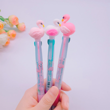 1pcs/lot Korean Version Of The Flamingo Cartoon Silicone Head Blue Black Red Three-color Ballpoint pen