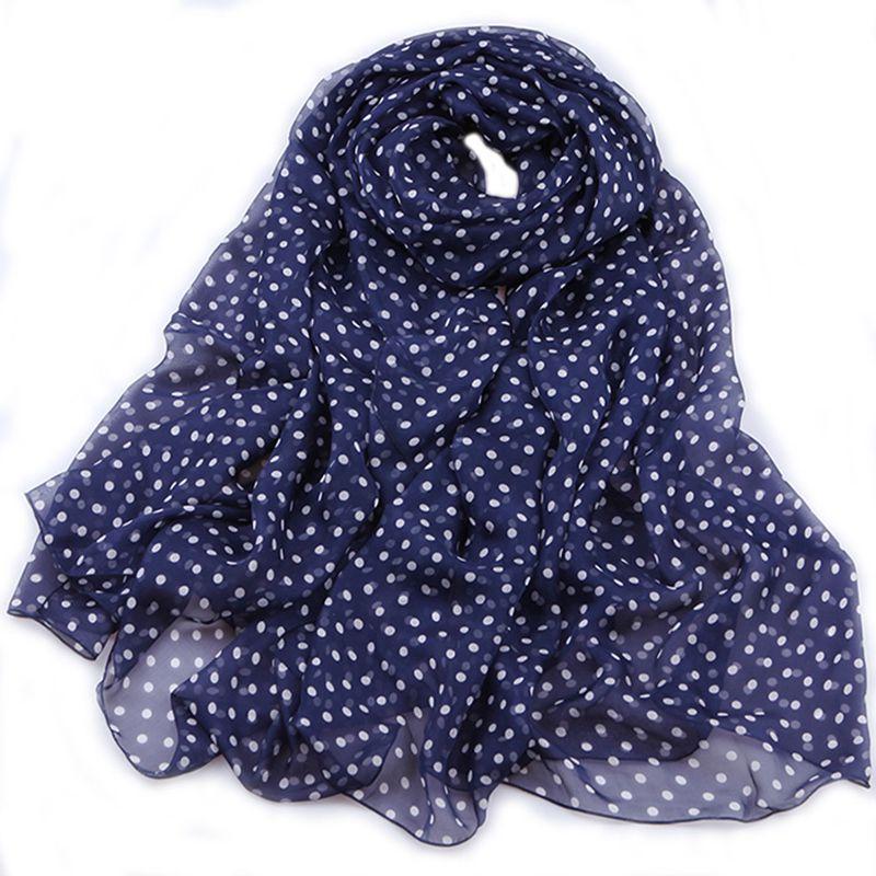Polka Dot Print Long Silk   Scarf   , Women's Spring Summer Big Size 100% Silk Scarfs   Wraps   Shawl Travel Beach Accesories Gifts