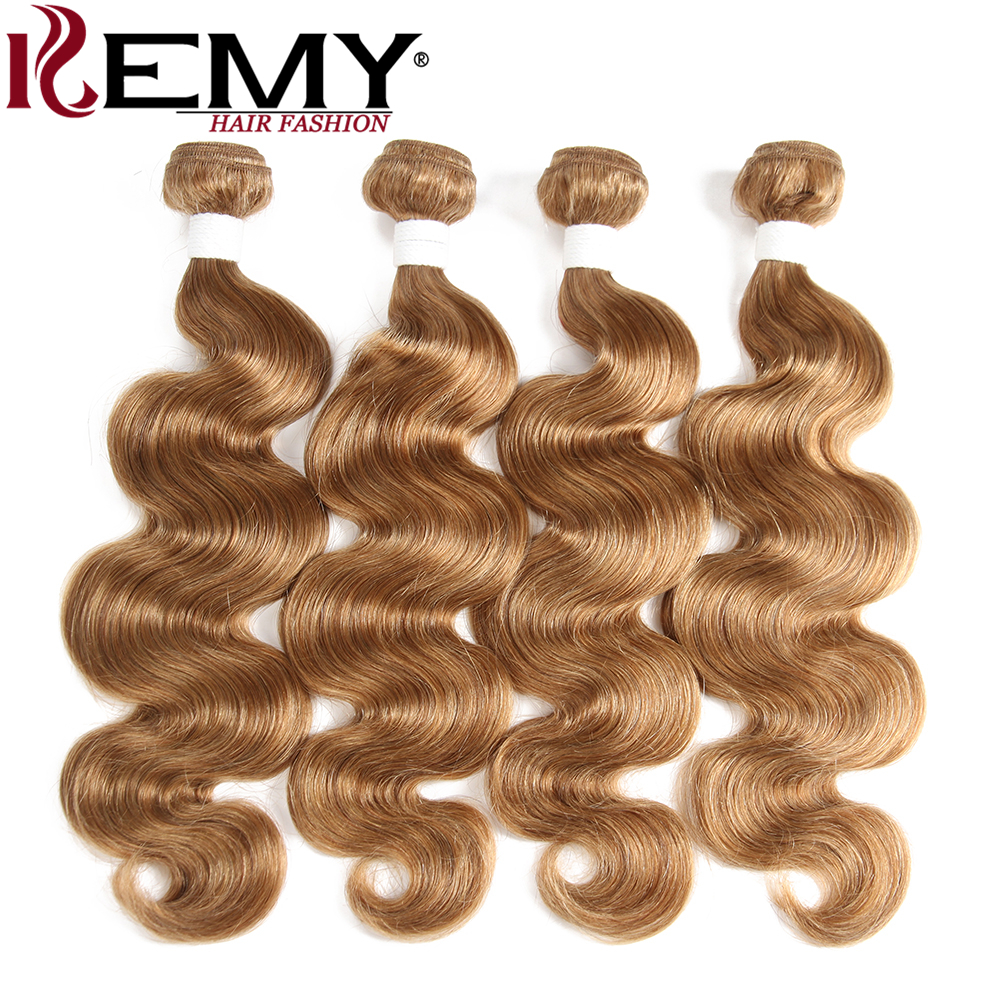 KEMY HAIR Pre-Colored 100% Human Hair Weaves Light Brown 4Pcs/pack Brazilian Body Wave H ...