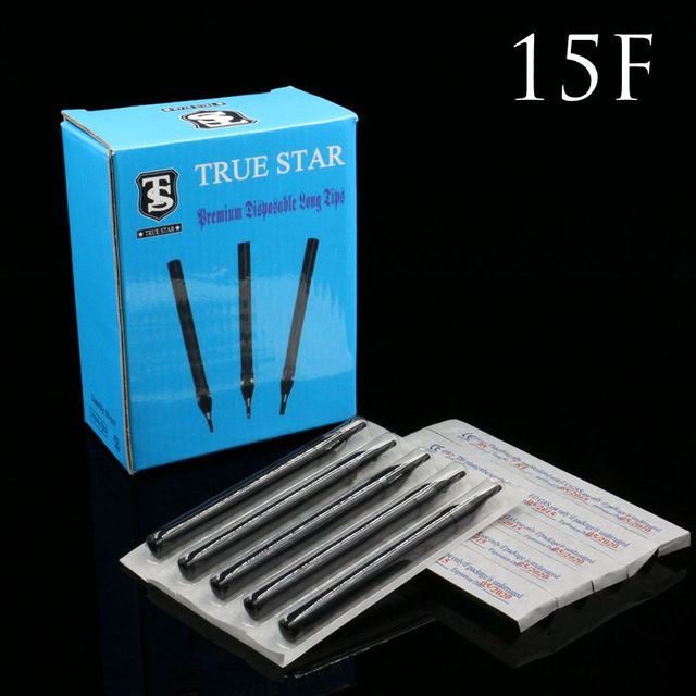 50PCS 15F Tattoo Tips True Star Black Long Disposable Tips 108mm needles tip For Free Shipping