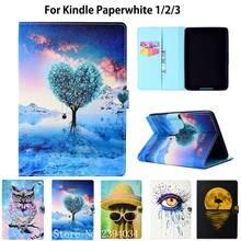 c89900482aef1 Inteligente Caso Capa de Couro PU para Amazon Kindle Paperwhite Kindle  Paperwhite 6 polegada 1 2 3 ª (2012 2013 2015) pintado Sh..