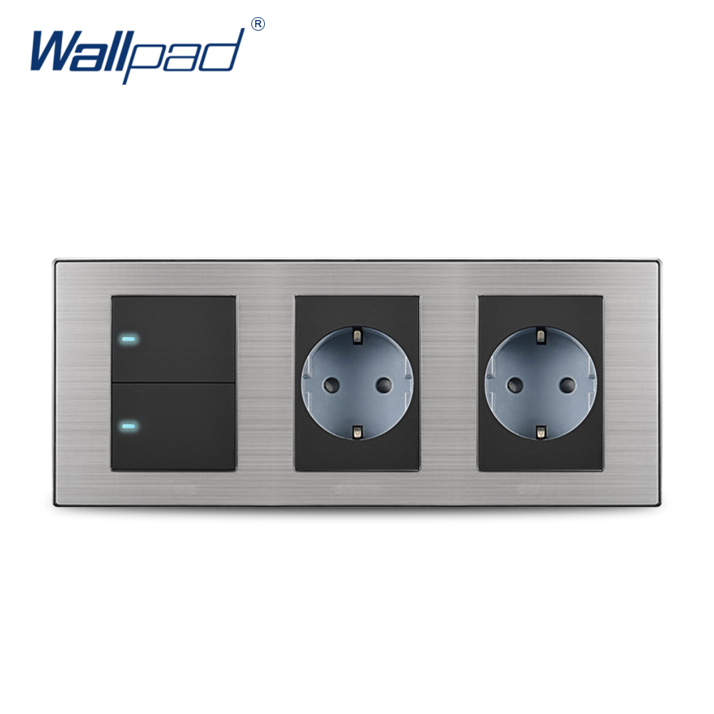 2018 Wallpad Hot Sale 2 Button 2 Way Switch With 2 EU Socket Schuko Luxury Wall Electric Power Outlet German Standard 234*86mm double computer socket free shipping hot sale china manufacturer wallpad push button luxury arylic mirror panel wall