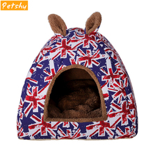 Petshy Warm Cat Cave House Pet Bed Dog Cute Soft Foldable Cushion Mat Pad Fleece Puppy Cats Sleeping Nest Kennel