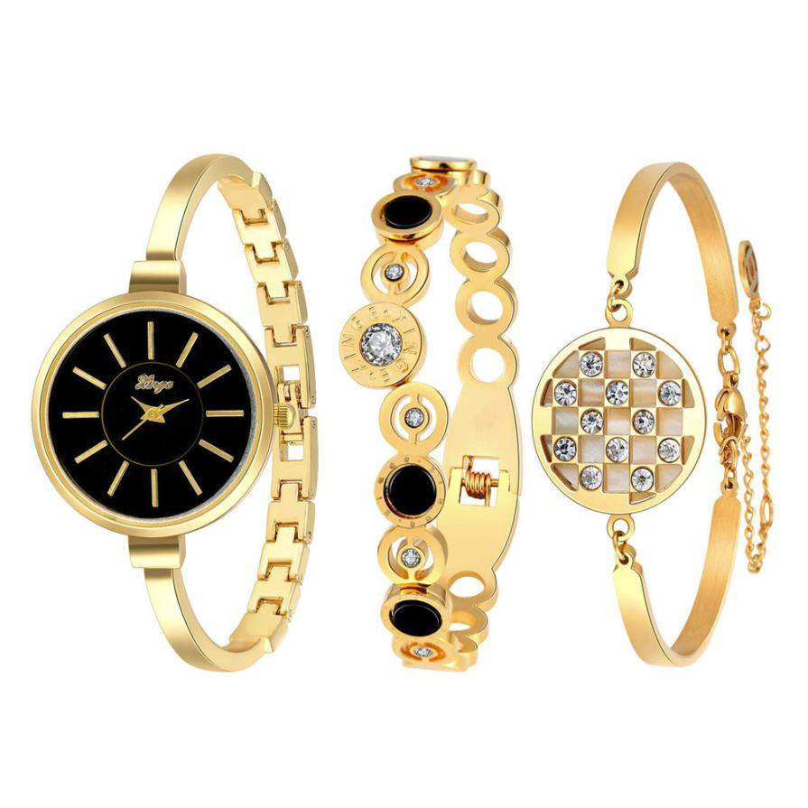 Hot 2017 Women New Fashion Luxury Gold Rhinestone Bangle Watch And Bracelet Set 609GB Reloj de las mujeres Levert Dropship new arrival famous brand diamond bracelet watch women hot sale luxury silver watch jewelry shinning rhinestone bangle bracelet