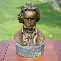 Musician Beethoven copper sculpture head bronze bust figure ornaments gifts Home Furnishing jewelry art