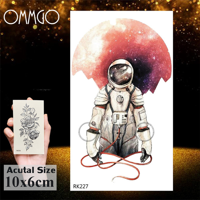 Watercolor Astronaut Universe Temporary Tattoos Sticker For Kids Fake Tattoo Planets Star Tatoos Children Waterproof Space Man 4