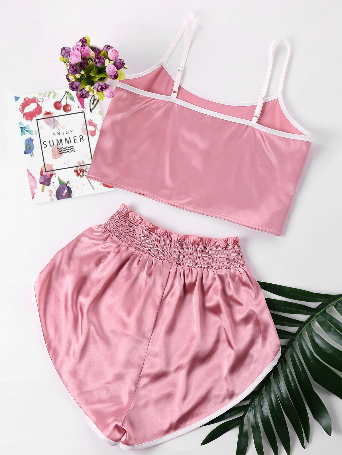 ZAN.STYLE High Cut Shorts Two Piece Set Color Patchwork Halter Strap Camis Cropped Top Ruffles Shorts Girl Beach Suit Sweet Pink 1
