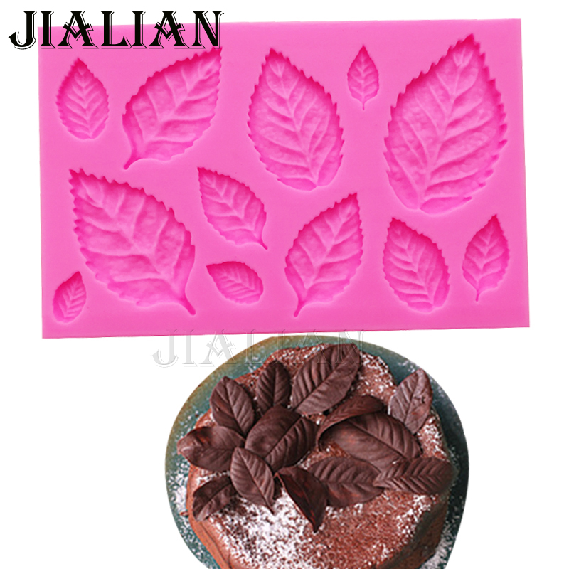 Bladformet Silicone Press Mould Leaves Cake Decoration Fondant cookies værktøjer 3D Food Grade Silicone Mould Gumpast Candy T0967