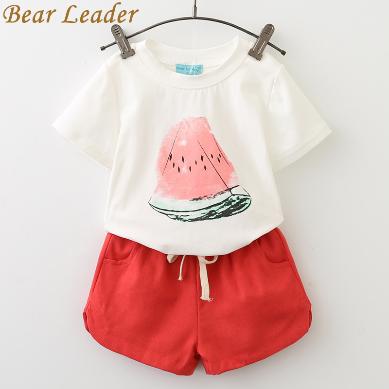 Bear Leader Girls Clothing Sets 2020 Summer New Brand Set Cotton Watermelon T-shirt + Cotton Shorts Two-piece Set for 3-7 Y