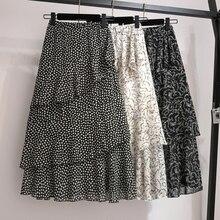 цены на YICIYA floral chiffon skirt girl plus size ruffles women black whiter dot skirts summer midi Multi layered irregular print  в интернет-магазинах