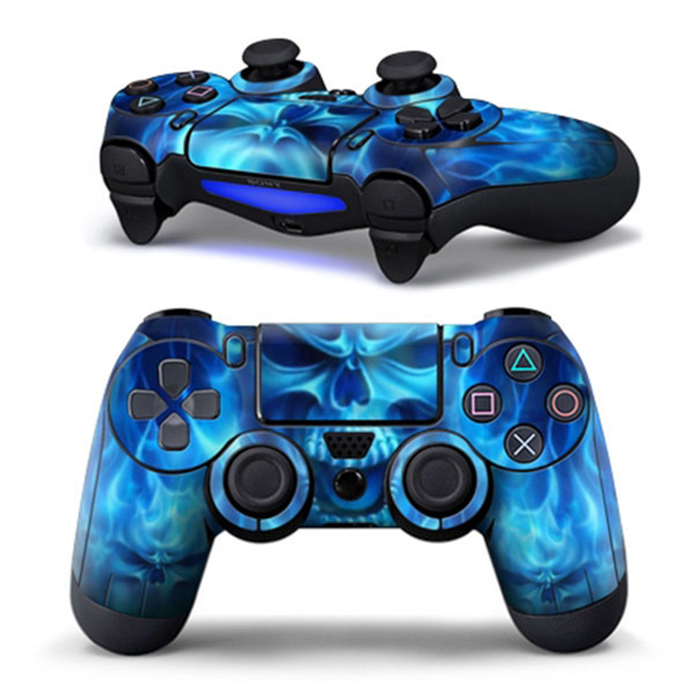 Cewaal New Design PVC Sticker Blue Skull Pattern Case Protector Decal for Sony PS4 Playstation 4 Controller Game Accessories