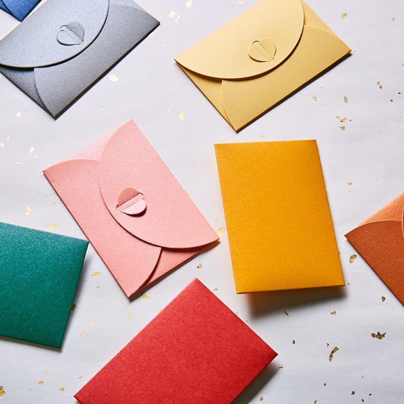 10pcs Blank Mini Heart Buckle Retro Paper Envelopes Wedding Party Invitation Envelope For Letter Greeting Cards