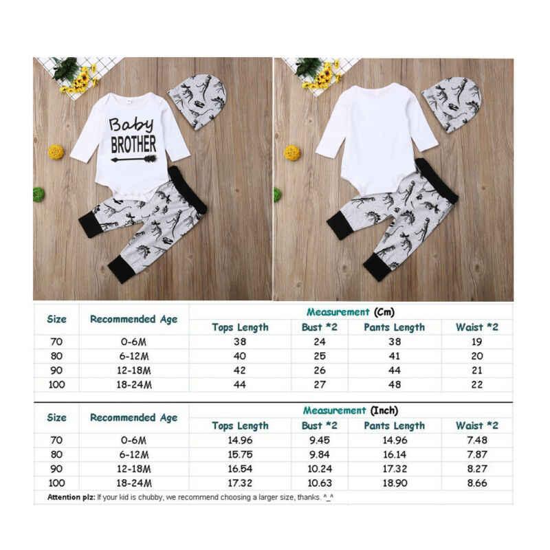 Осенний белый комбинезон с длинными рукавами и надписью, боди, серые брюки с динозаврами, шапка, комплект из 3 предметов, 2019 г., комплект одежды для новорожденных мальчиков