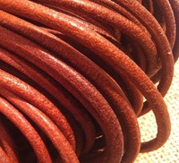 5 Meters Lot 8mm Natural Brown Genuine Cow Round Leather Cord String Rope Thread For Necklaces