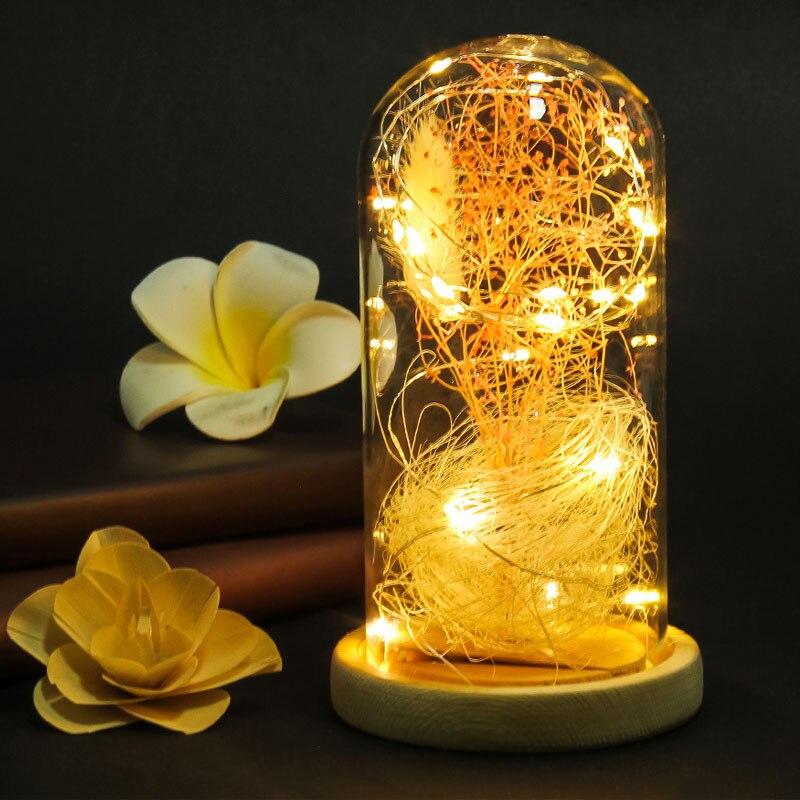 Newest LED Vase Fake Gypsophila Flower Terrarium Glass Landscape Cover Filler Home Decor Gifts @8 JD9