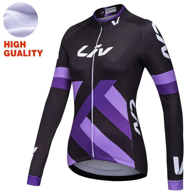 5494ab993686 € 42.63 |Invierno ciclismo Jersey polar mujer de manga larga ropa de  ciclismo pro equipo bicicleta de montaña mujeres largo invierno Jersey en  ...