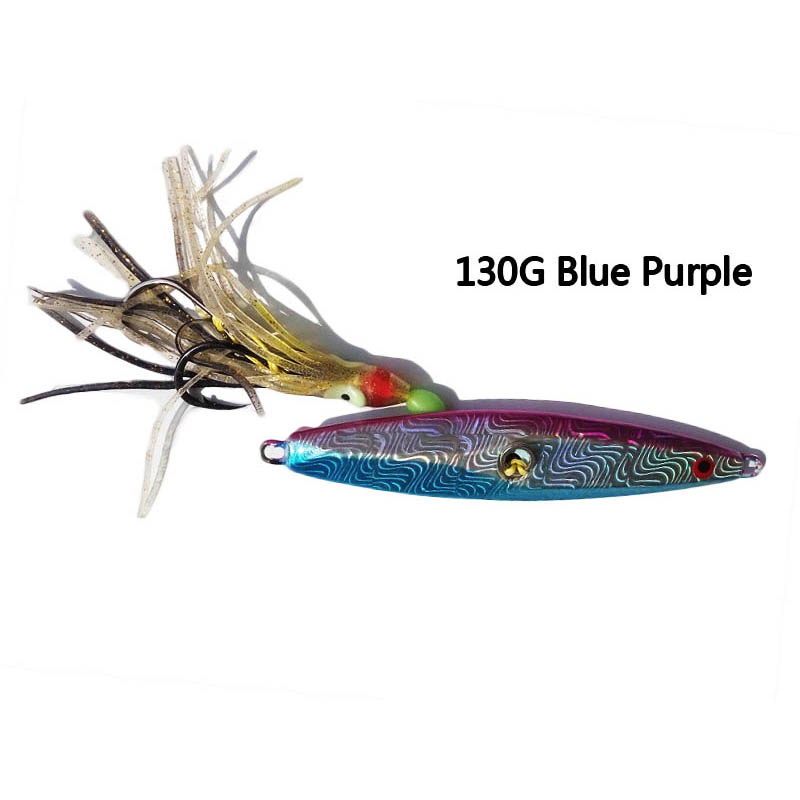 1pcs/pack 130g Inchiku lead jigs rig fishlure bait with octopus assist hook boat slow casting sea butterfly jigging lure bait