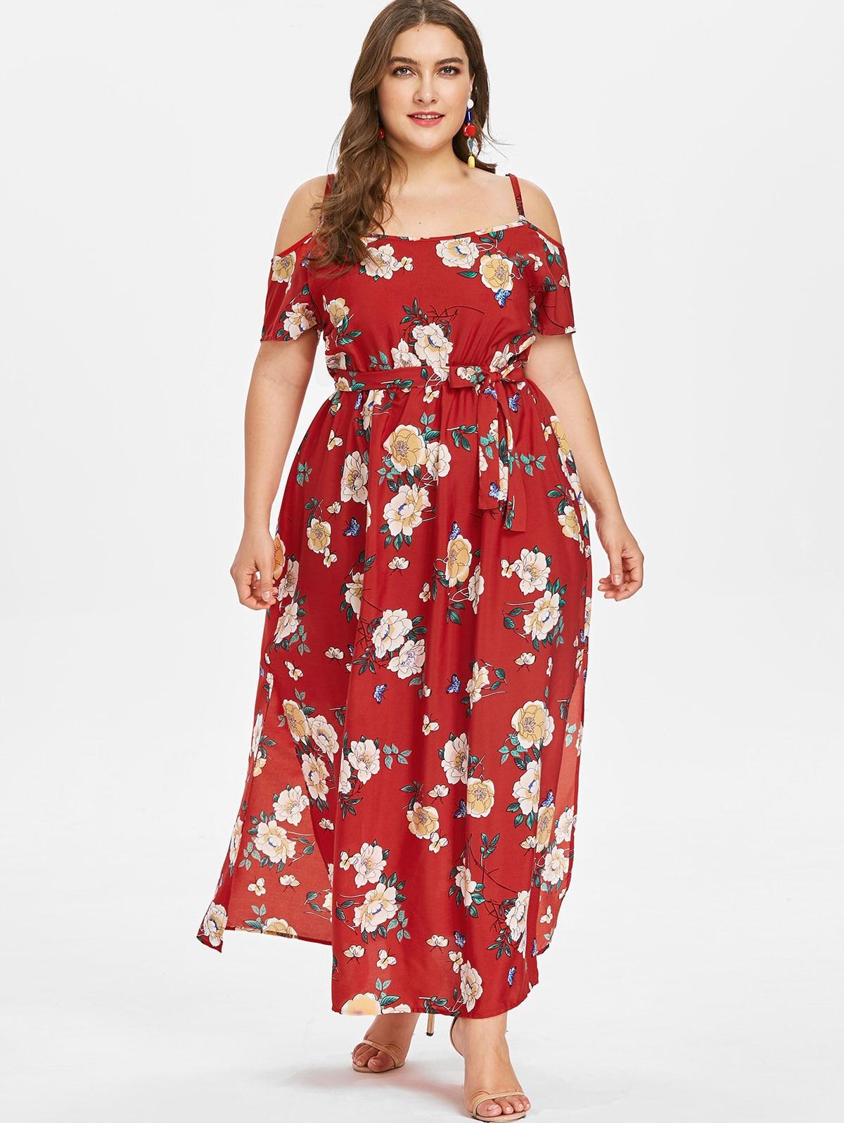 5f91d267b71c8 Wipalo Short Sleeve Dress Floral Print Beach Vintage Maxi Dresses Boho  Casual Cold Shoulder Belt Tunic Draped Plus Size Vestido
