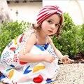 2016 verano del niño del bebé de algodón vestido de la correa de fruta graffiti impresión de princesa dress niños ropa