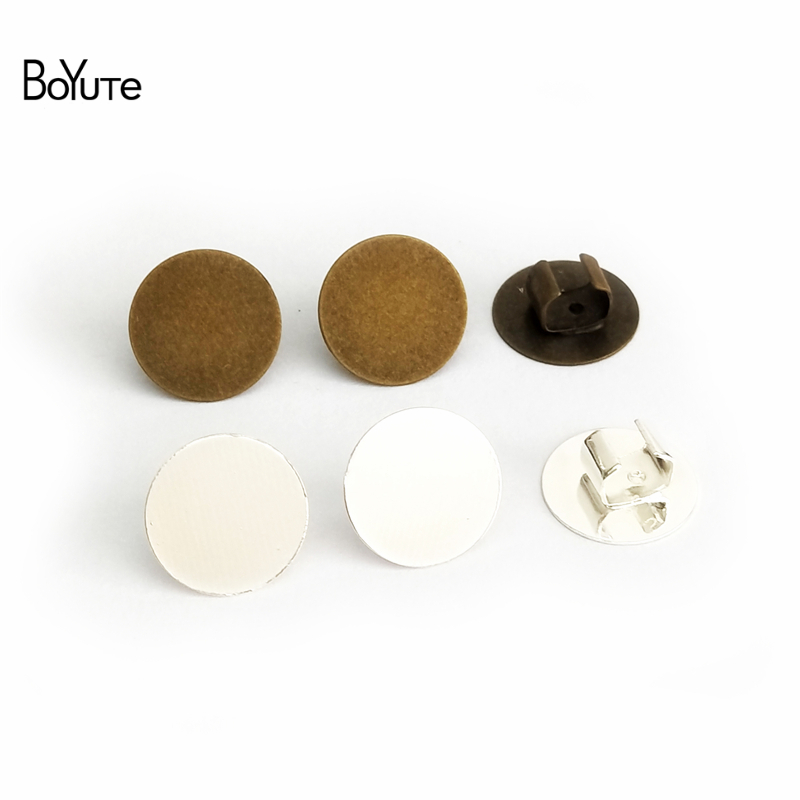 BoYuTe 50Pcs 12MM Cabochon Base Hair Rope Clasp Clips Diy Jewelry Findings Components