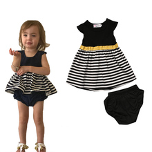 Summer Babies Girl 2pcs Striped Dress+PP pants Clothing Set Toddler Kids Baby Girls Tops+Bottom Outfits  Clothes Sets