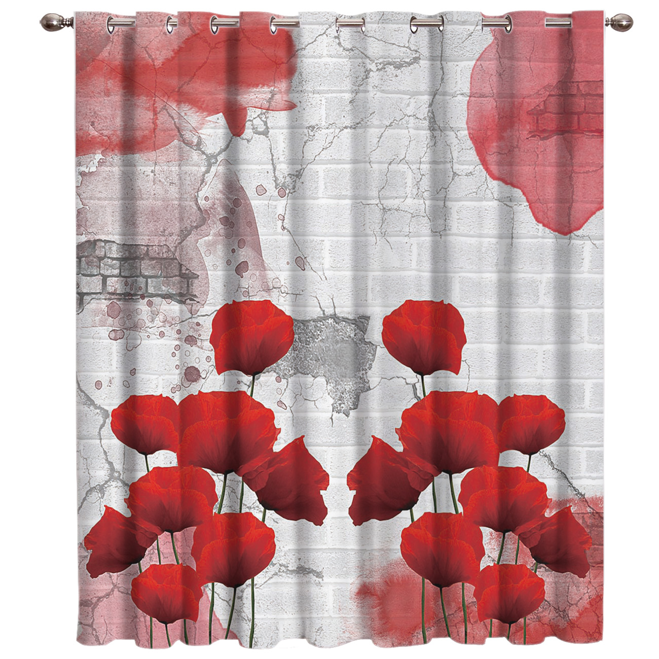 Poppy Flower Room Curtains Large Window