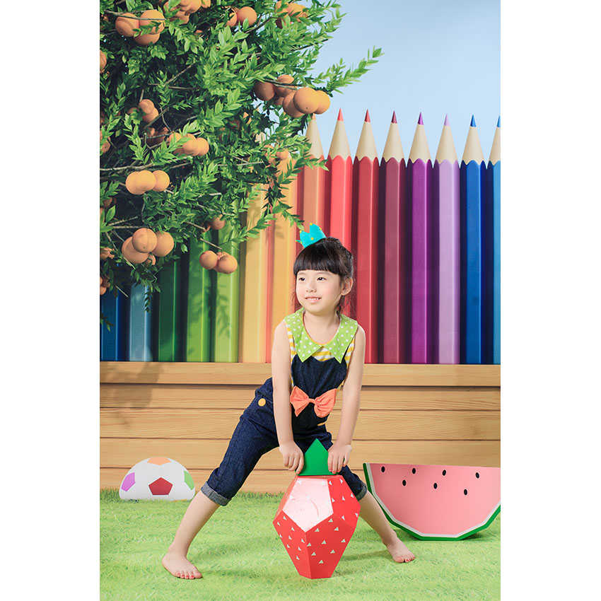 Custom Background Vinyl Photography Backdrop Colored Pencil Orange Tree Football Lawn Children Backgrounds for Photo Studio SZ-8