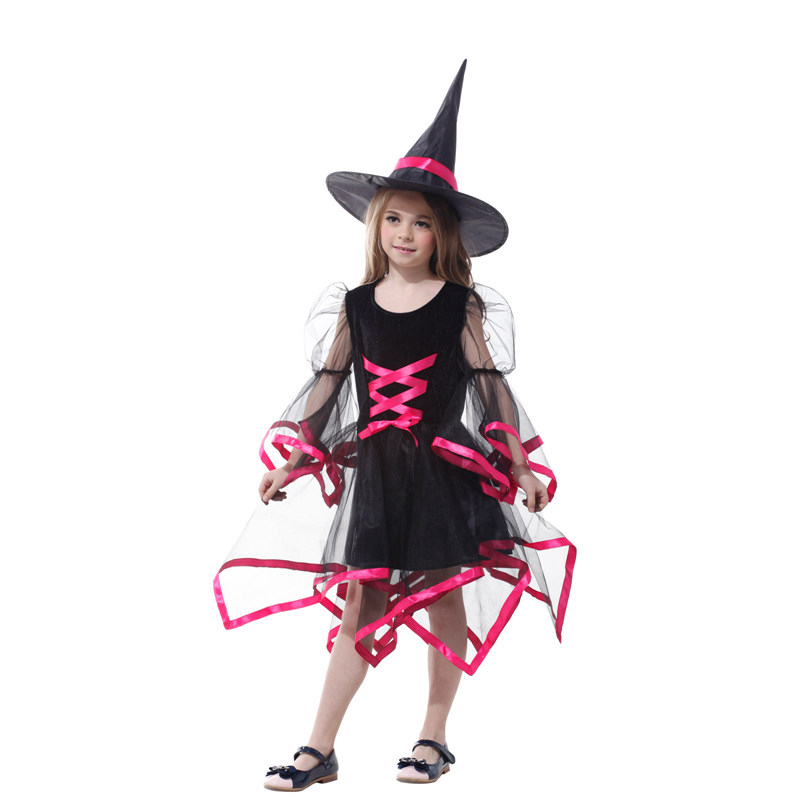 3 color Halloween Party Children Kids Cosplay Witch Costume For Girls Halloween Costume Party Witch Purim and Carnival