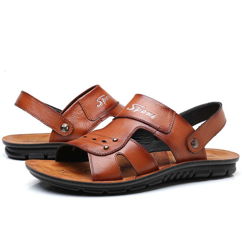 05e435d2a ... 2019 Summer Big Size Men s Sandals British Fashion Genuine Leather  Beach Shoes Mens Casual Massage Non ...