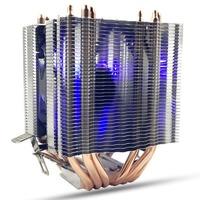 LED Blue Light CPU Fan 6X Heat Pipe For Intel LAG 1155 1156 AMD Socket AM3