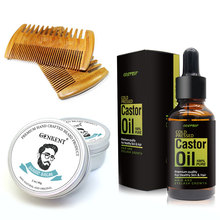 Beard Moisturizing Kit for Men Care Nurse Beard Balm,Handmade Beard Comb, 30ml Beard And Hair Growth Castor Oil