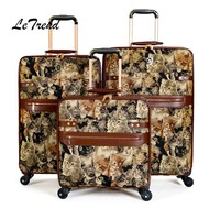 Letrend Cute Cat Student Travel Bag Spinner Rolling Luggage Women Wheel Suitcase Trolley 16 inch Chidren Carry On Box