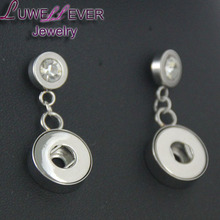 Hot Sale Stainless Steel b1 12mm Snaps Button For Women Charms White K Plated Design Snaps Earrings Jewelry