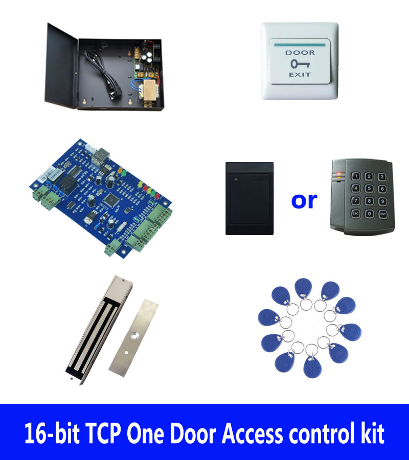RFID Door access control kit,TCP one door access control+powercase+280kg magnetic lock+ID reader+exit button+10 tag,sn:kit-B06 biometric fingerprint access controller tcp ip fingerprint door access control reader