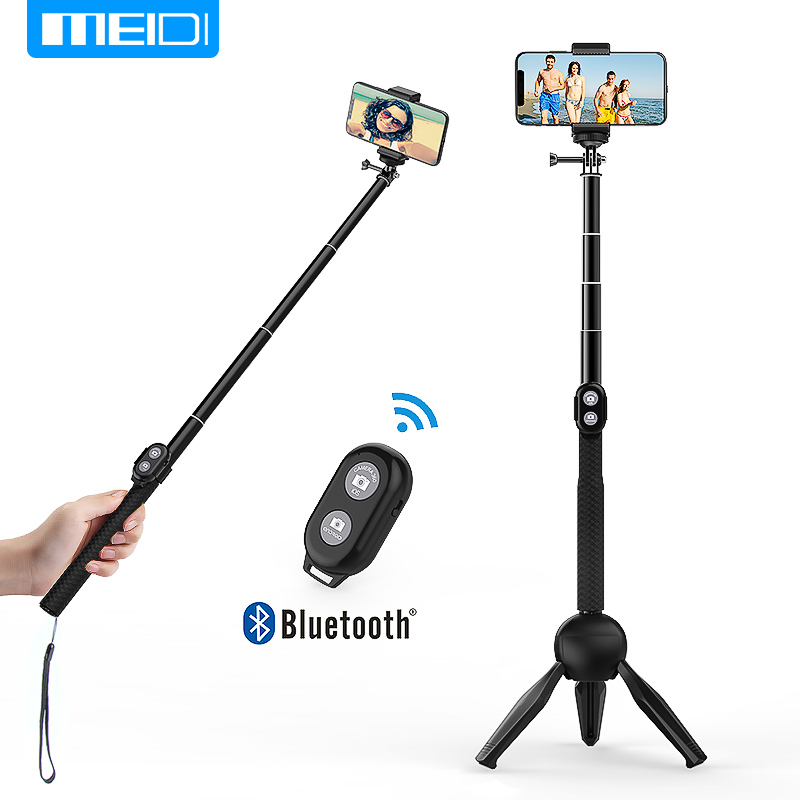 MEIDI Cell Phone Holder Bluetooth Selfie Stick Extendable Wireless with Tripod Stand Remote Control for iPhone Android Cameras